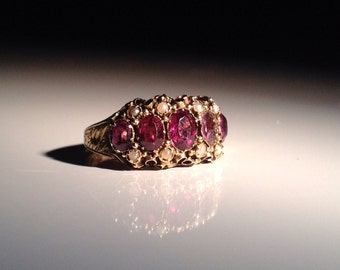 Ca 1880 15 KT English Gold Ring Garnet with Pearls 15 ct 625