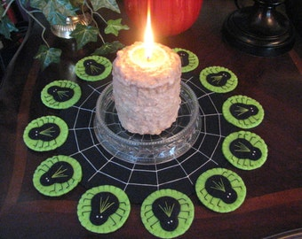 Apple Green Hand Stitched Halloween Spiders Wool Felt Candle Mat- Penny Rug - Primitive - Folk Art - Fiber Art - Needle craft - Applique