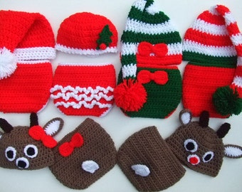 Crochet Christmas Baby Hats- Diaper Covers- Mr Mrs Santa Claus-Boy or Girl Reindeer-Boy or Girl Elf- Photo Prop-You Pick Size- Ready to Ship