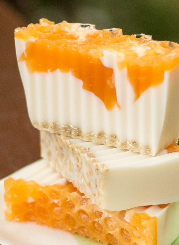 Handmade Shea Butter and Glycerin Soap - Oatmeal, Milk and Honey Soap with Exfoilating Oatmeal // Gifts for Her