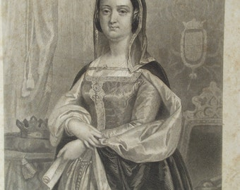 Queen Isabella - Antique Portrait Engravings Women for The Ladies Repository