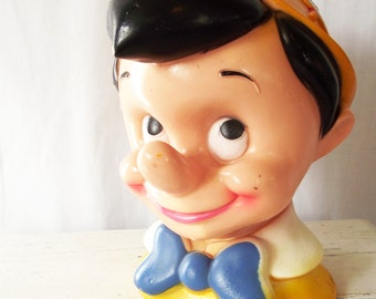 Vintage Pinnochio Bank - Walt Disney - 1970s Bust -