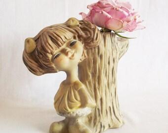 Vintage Planter - Stump - Little Girl - Bisque - Ponytails - Pencil Holder