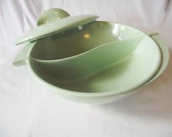 Vintage Boonton Dish - Divided Covered Vegetable Bowl - Mint Green - Melmac Serving