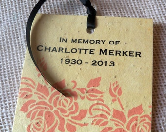 In memory of  - memorial keepsake plantable seeded tags with coral stencil roses - 25