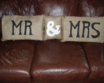 Set of Mr. & Mrs. or His and Hers pillows in black or dark brown