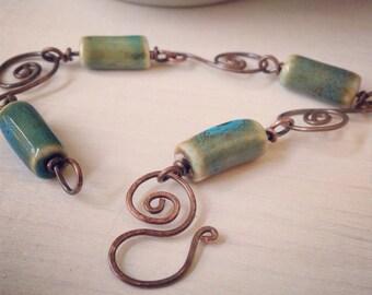 Handmade Jewelry Custom Copper Bracelet Handcrafted Earthy Green Bracelet Beaded Wire Wrapped Bracelet Bridesmaid Jewelry Bohemian Jewelry