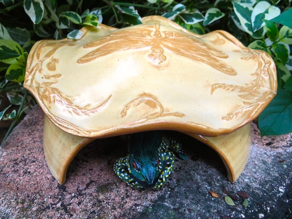 Frog House Toad Abode House For Green Gardening, Stoneware Pottery, Yellow Gold, Dragonfly Nature Inspired Pottery Garden Art