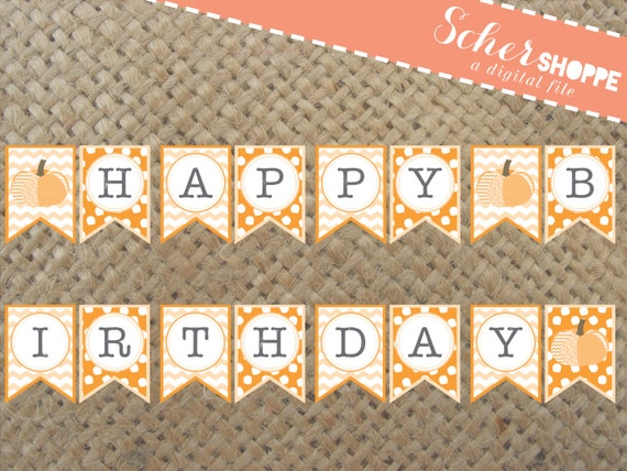 Autumn Pumpkin Happy Birthday Banner // Fall Banner Invite