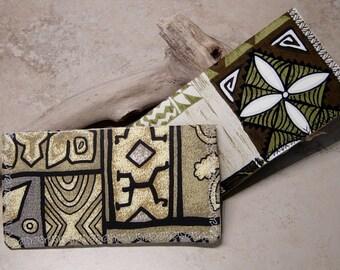 Checkbook Cover,Checkbook Wallet, Tropical Tapa Print Fabric Choices, Hawaiian Fabric, Checkbook Organzier