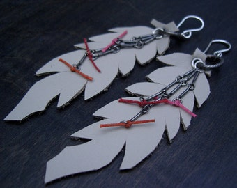 oatmeal white leather quill feathers, leather feathers trimmed in antique silver chain