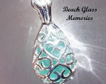 Sea Glass Necklace Beach Glass Jewelry, Aqua Seaglass Locket Teardrop Locket Pendant Necklace