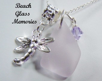 Lavender Sea Glass Dragonfly Necklace Seaglass Necklace Beach Glass Jewelry