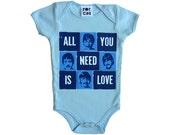 Beatles blue onesie (short or long sleeve)