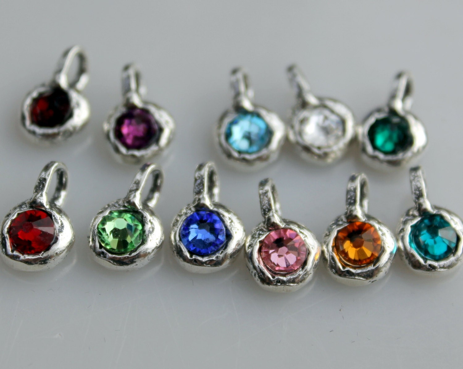 birthstone charms rustic sterling silver by thehappyjewel