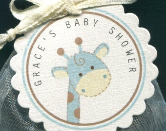 Personalized Baby Shower Favor Tags, giraffe, blue and ivory, set of 25 round scallop tags