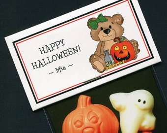 Personalized Halloween Party Favor Bag Topper Label With Teddy Bear And Pumpkin, Set of 25