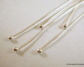 50 Silver Ball Pin Headpins 21-22 Gauge 2.25 inch Plated Brass 1.5 Ball - 50 pc - F4098BHP-S50