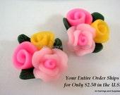 SALE - Resin Cabochon Flowers Tri Color 23x23x11mm - No Holes - 2 pc - CA2019-PY2