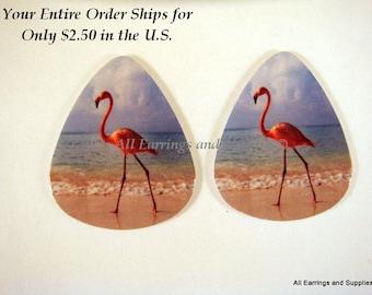 2 Flamingo Guitar Pick Single Sided - Flamingo on the Beach - 2 pc - 6123 - Buy 5 designs, get 1 Free