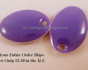 4 Purple Enamel Oval Epoxy Charm Bead Drop 14x9mm - 4 Pc - 1822