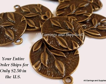 20 Antique Bronze Charm Drop Flat Round w Leaf Design 22x19mm - 20 pc - DC3011-AB20
