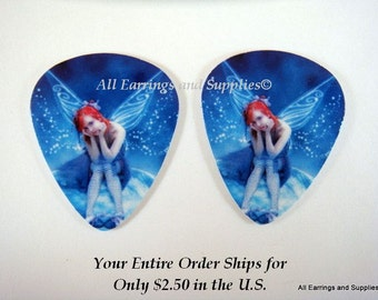 2 Fairy Guitar Pick Single Sided - Contemplating Fairy - 2 pc - 6100 - Buy 5 designs, get 1 Free