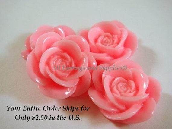 4 Bright Pink Cabochon Resin Rose Bead 18mm - No Holes - 4 pc - CA2007-P4