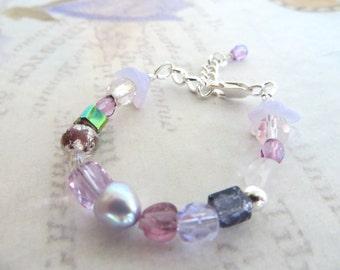 Infant Bracelet-Purple & Sterling-Baby Girl Gift