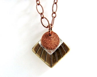 Vintage Brass, Aluminum, Copper Necklace, Layered Mixed Metals, Textured Charms, Pendant Repurposed Jewelry By Hendywood