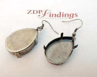 2pcs x Kidney Wire 30x20mm Antique Vintage Silver Plated Bezel Earrings Suitable for Swarovski 4327 (KWOV30201ASP)