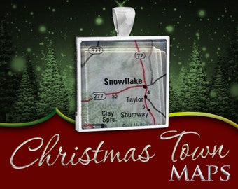 Snowflake, Arizona | Christmas Town Map Pendant