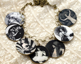 Burlesque Girl Necklace Show Girl Necklace Pin Up Necklace Black White Necklace Burlesque Necklace