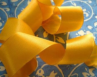 """5 Yards of Rayon Taffeta Wired Ribbon in Mango  (1"""")"""