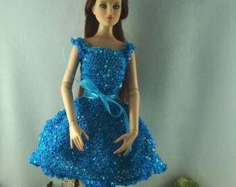 Crocheted sequinned dress for 16 inch dolls