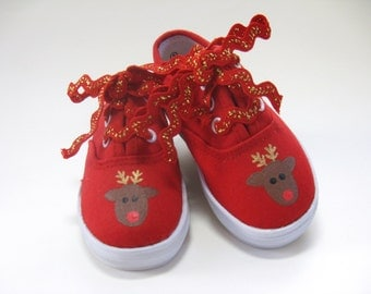 Girl's Reindeer Shoes, Red Christmas Sneakers Hand Painted for Baby or Toddlers, Holiday Shoes