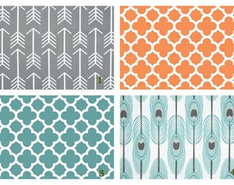 Arrow Feathers trellis Grey Teal Orange crib  set -  Design your own 2 or 3 pcs. SET Custom crib Bedding