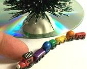 1:12 Miniature Dollhouse Tiny Toy Train Hand Sculpted 7 Micro Rainbow Cars Collectible Train
