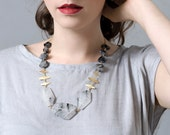Gemstone Statement Necklace, Black Rutilated Quartz Necklace
