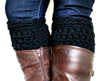Boot Cuffs, Leg Warmers, Black Boot Socks, Chunky Boot Cuffs, Shoe Cuffs, Boot Topper, Boot Cuff- Buy One Get one 50 % off