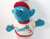 Vintage Smurf Doll Baseball 3 Plush Peyo Smurf Animal Toy