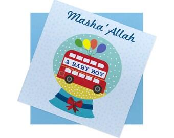 Masha'Allah baby boy congratulation snow globe card - blue