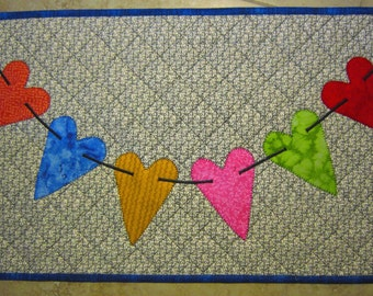 HEART BANNER Mini Quilt from Quilts by Elena