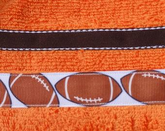 Orange Football  Hooded Towel