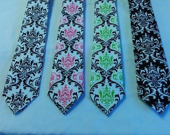 DAMASK TIE or HANKY Colors cotton damask necktie - pocket square black white fuchsia lime wedding groom men boys toddler big tall Maddy tie