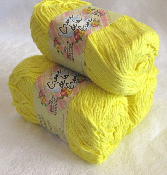 Creme de la Creme Cotton Yarn, Bright SUNSHINE Yellow, worsted weight