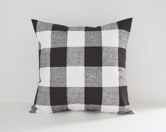 Black Pillow Cover Decorative Pillows Throw Pillows Buffalo Plaid Pillow Other Colors 8 Sizes Available