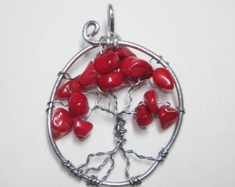Red Coral,SALE,Tree Of Life,Coral Tree Of Life, Red Coral Tree Of Life Pendant Necklace,Red Necklace,Red Pendant, #63