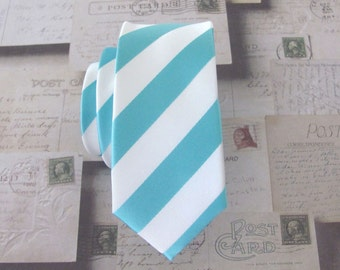 Mens Ties Necktie Blue and White Stripes Skinny Tie