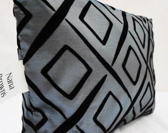 Zipper Pouch Cosmetic Bag - Blue Satin & Black Velvet